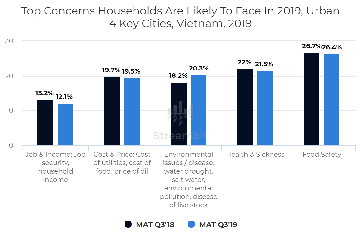 Top Concerns Households Are Likely To Face In 2019, Urban 4 Key Cities, Vietnam, 2019